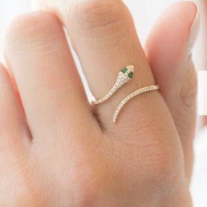 CZ Pave Serpentine Snake Adjustable Gold Ring